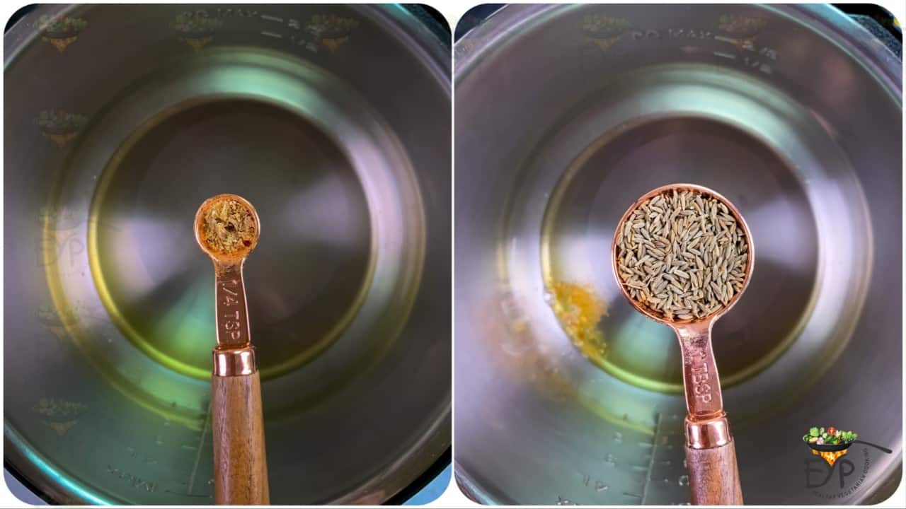 starting suate and adding Ghee & cumin seeds