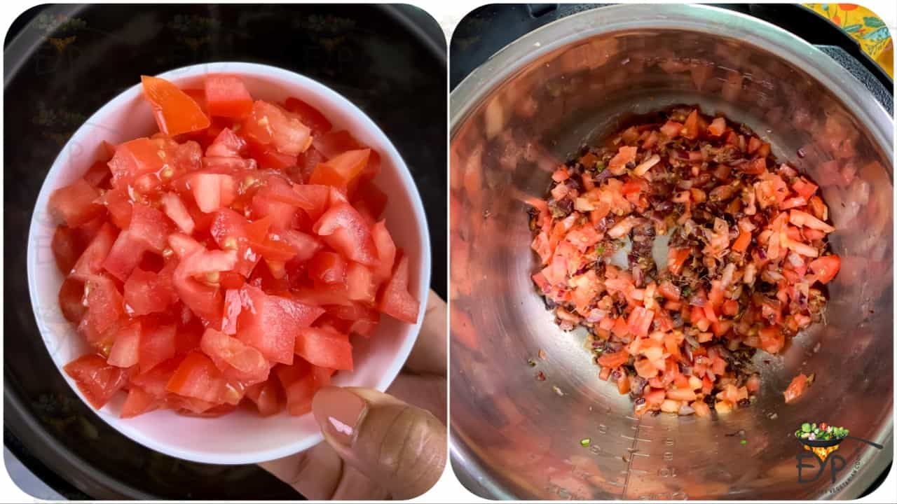 adding diced tomatoes and continuing to saute