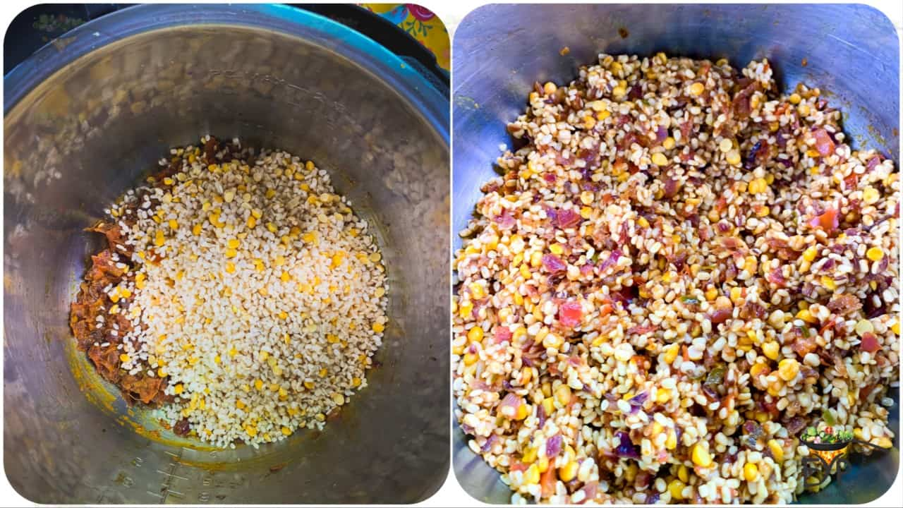 Adding washed and rinsed lentils to the mixture