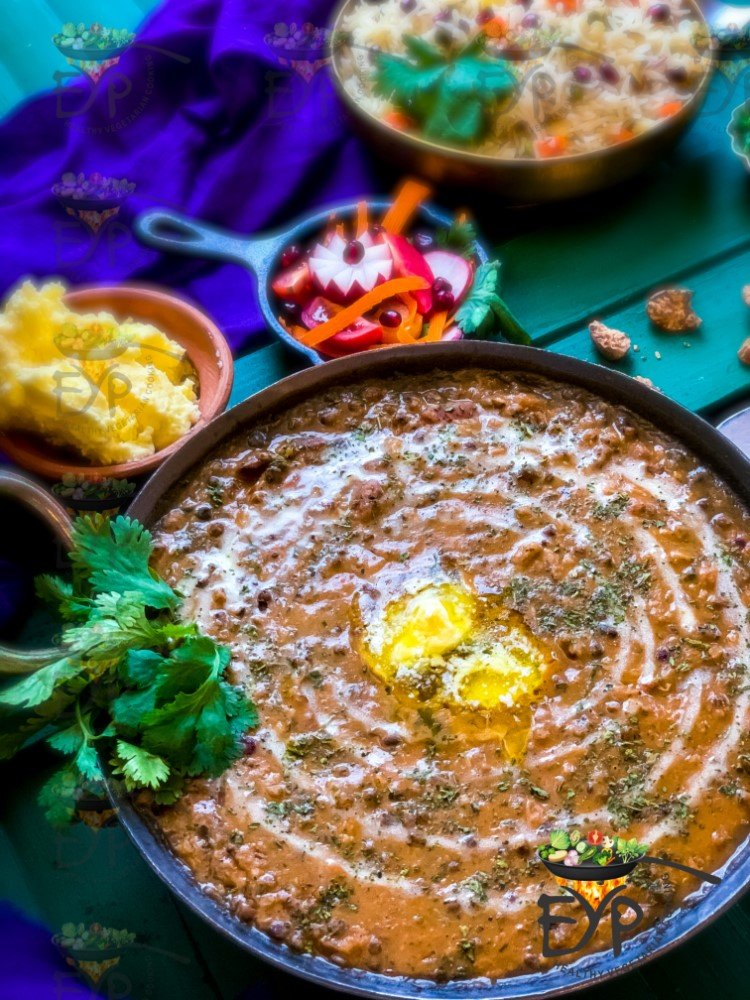 Dal Makhani topped with butter and cream