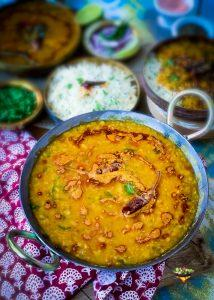 Freshly made Dal Tadka in a kadai or wok