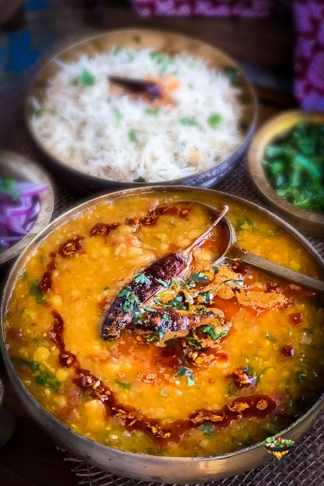 Dal Tadka served in a copper bowl