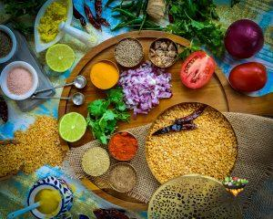 Fresh ingredients for Dal Tadka