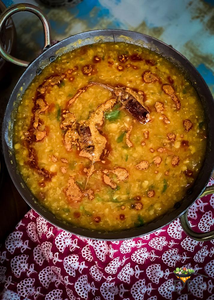 Fresh cooked Dal Tadka in a wok or Kadai