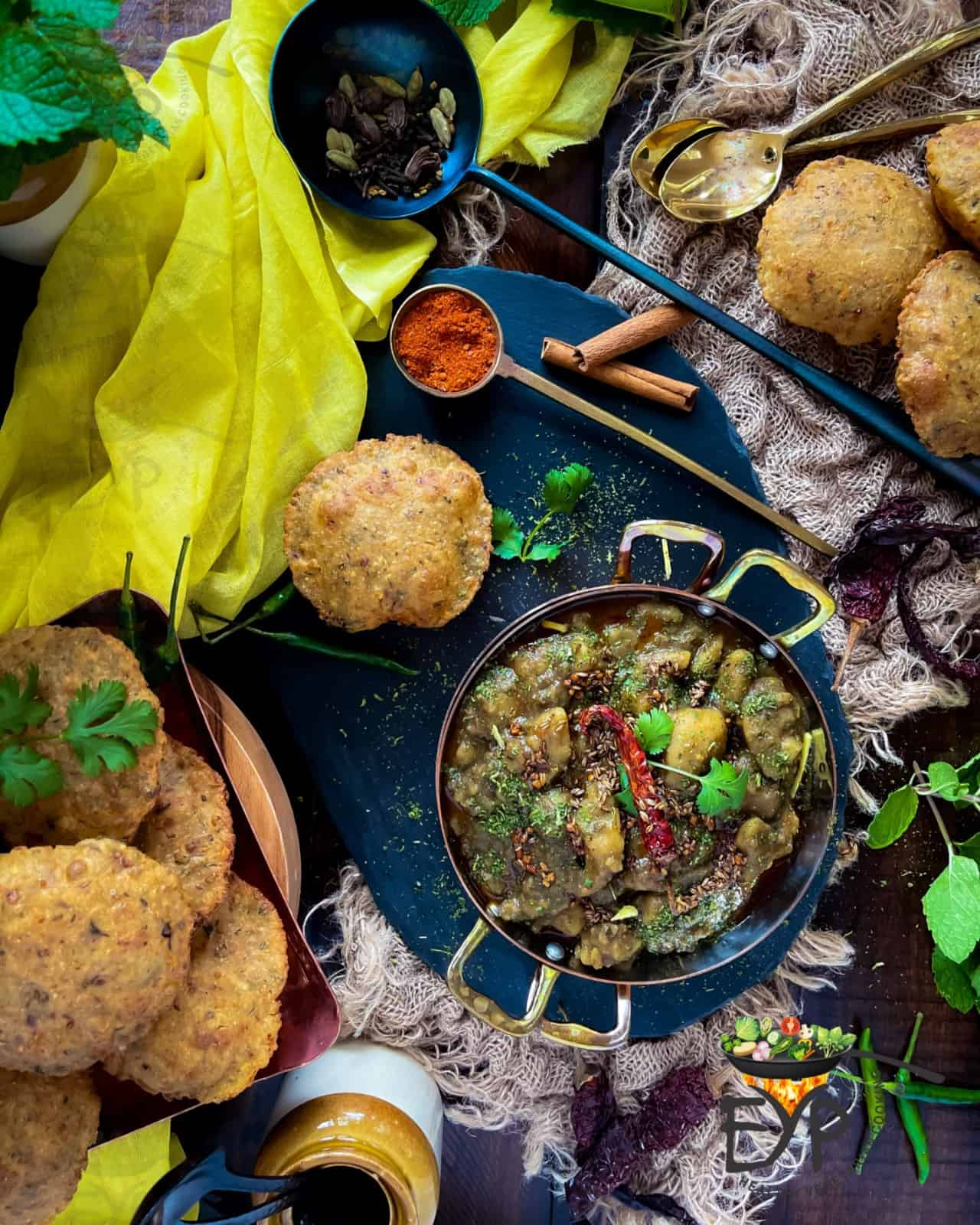 Dubki wale aloo spicy potato curry surved with bhedai (stuffed lentil deepfried bread)