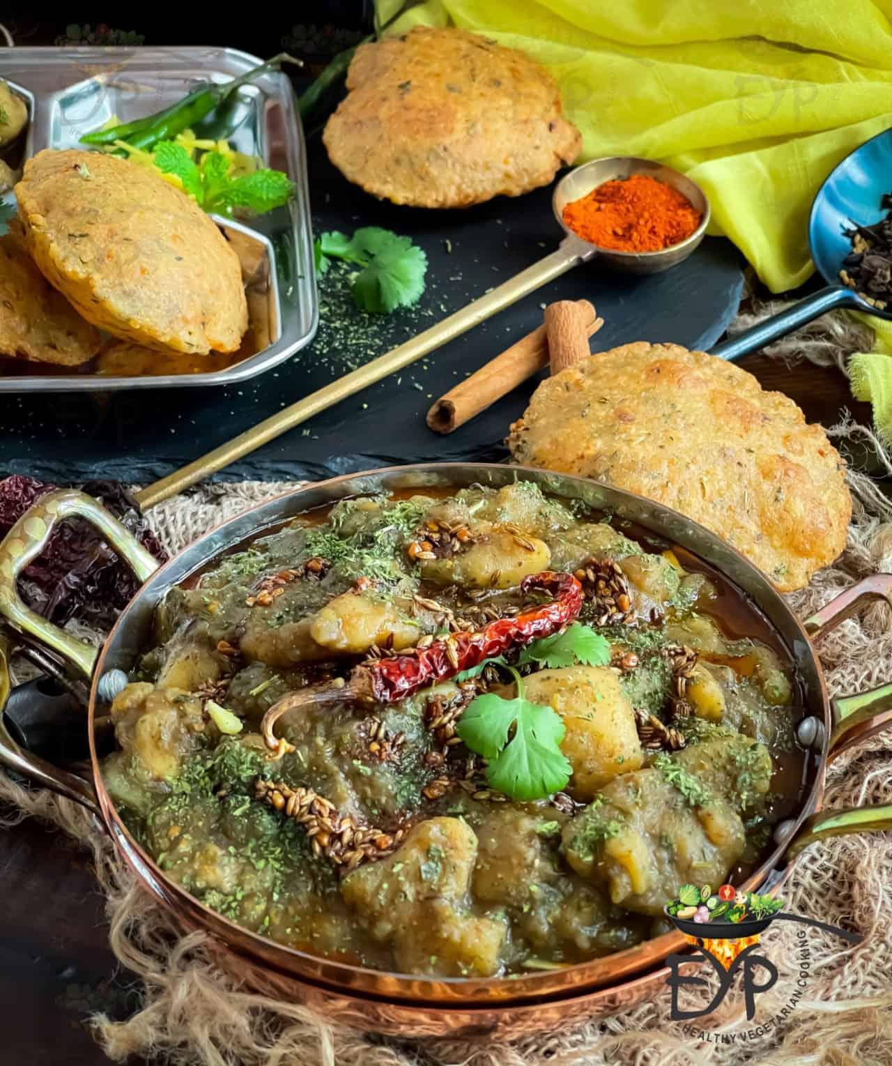 Dubki wale aloo served in a copper wok