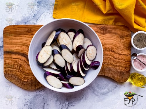 sliced eggplant in a bowl