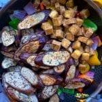 Eggpan and Tofu added to the stir-fry