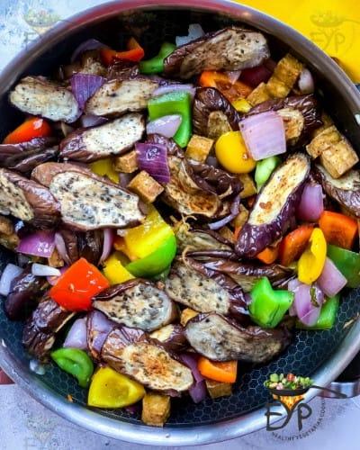 mixing and saute to make Thai Eggplant Stir-Fry