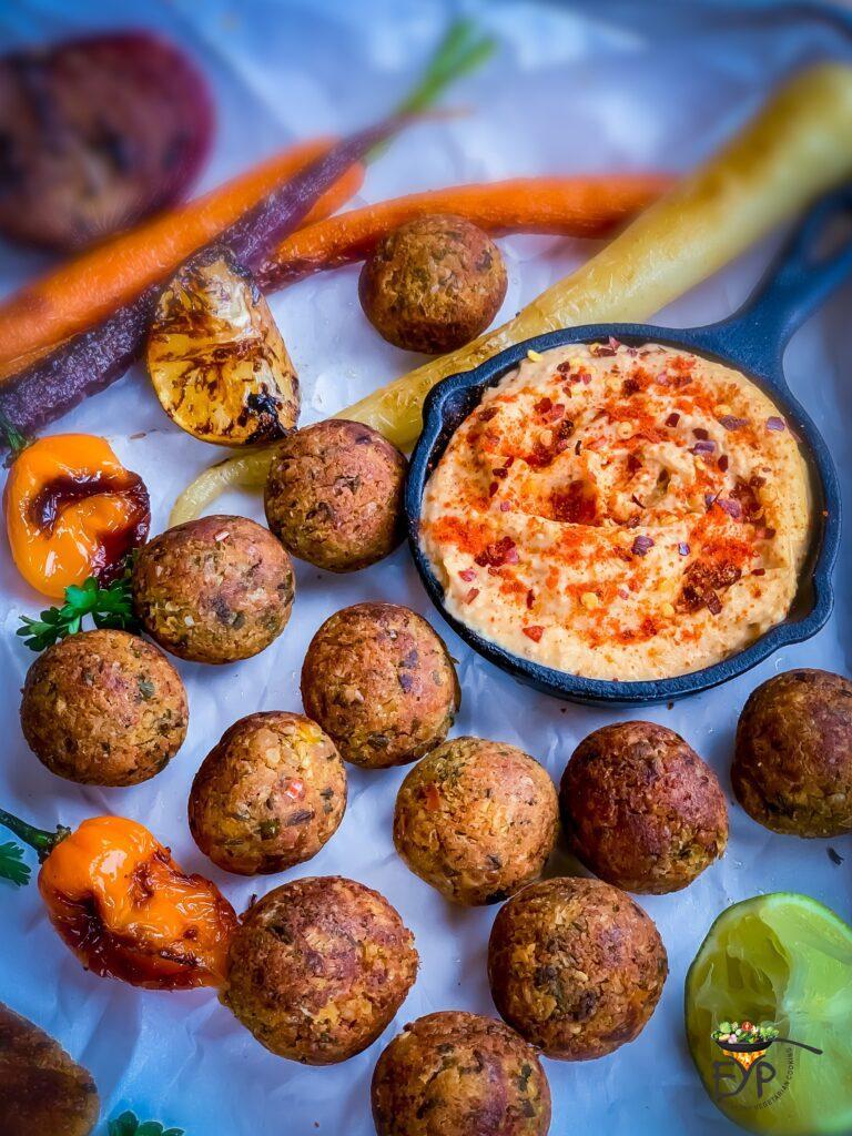 Falafel Roundels served with humus