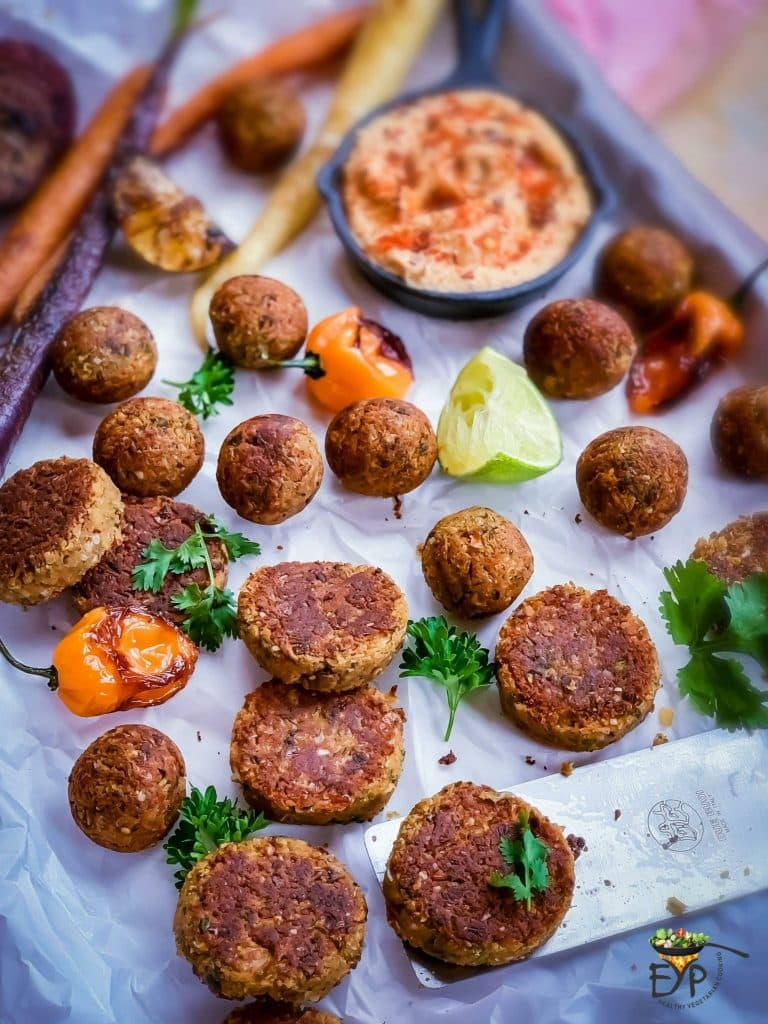 Falafel burger patties and roundels