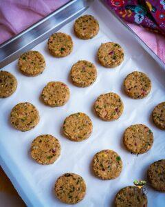 Falafel patties ready to freeze