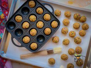 Falafel roundels ready to freeze
