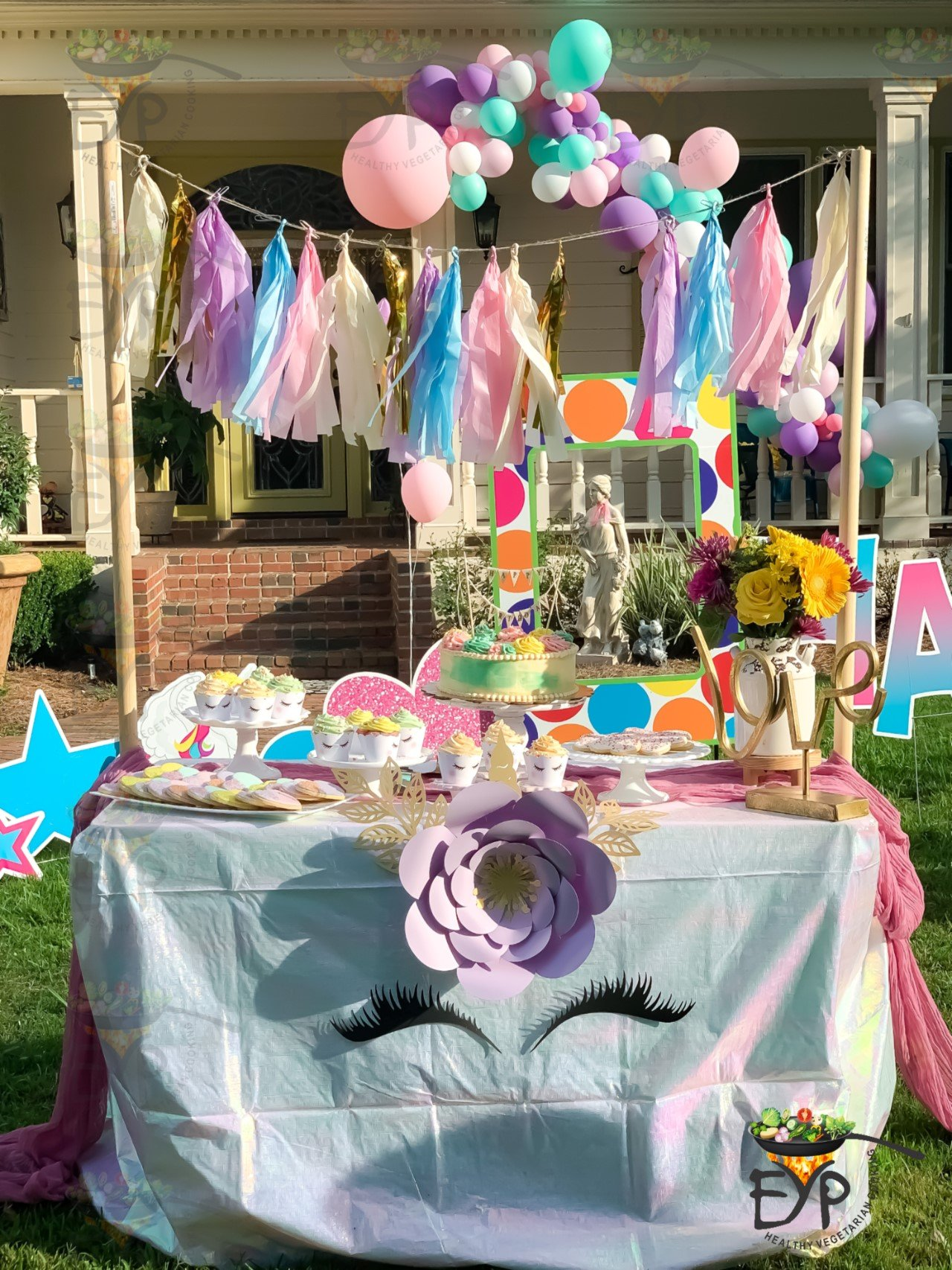 Cake table decoration for outdoor birthday party