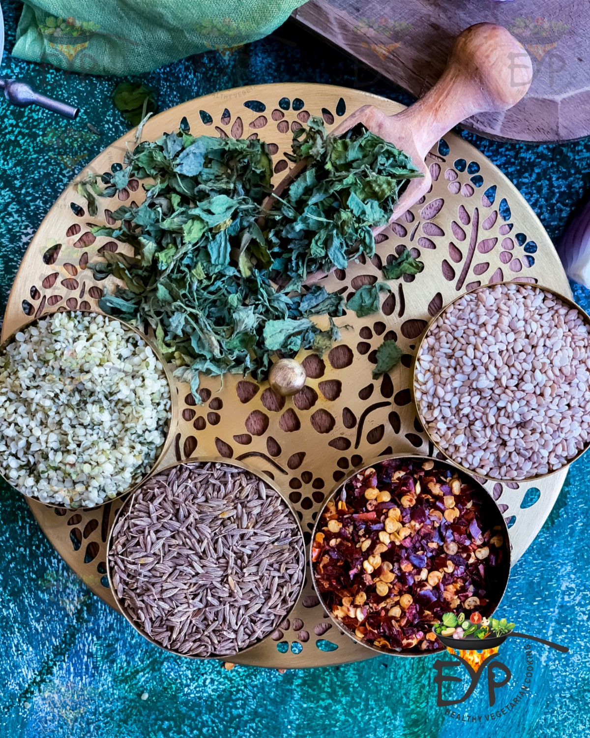 Herbs and seeds used in making the gluten free crackers
