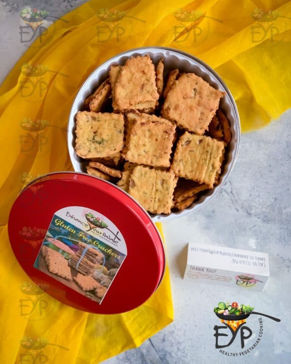 Gluten Free Crackers in a red steel box ready to ship