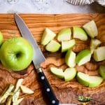 Green apple being chopped