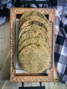 Half cooked bathua aloo paratha for freezing