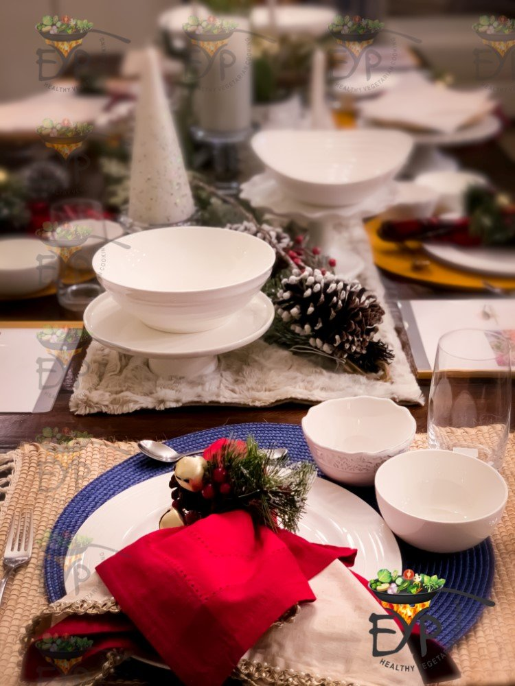 dinnerware and server ware for christmas table setting