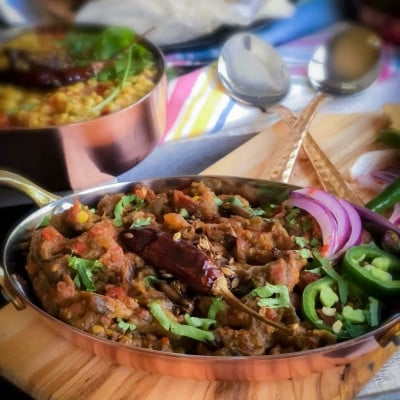 Baingan Bharta – Roasted Red Pepper and Eggplant