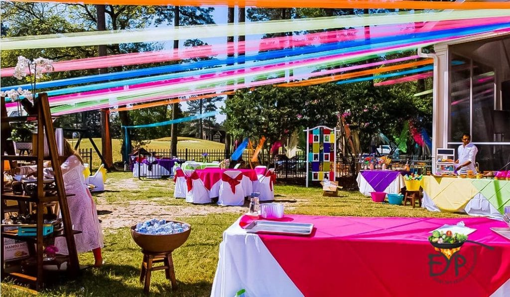Holi event venue in Backyard decorated with beautiful colors