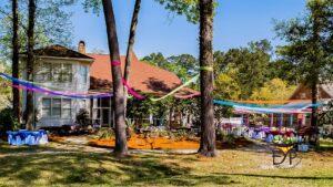 Holi party backyard decoration using the tulle fabrick