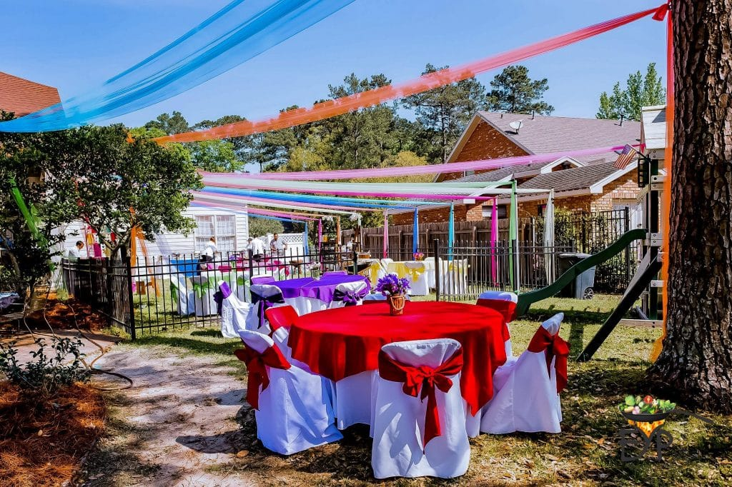 Backyard with Holi Party Decorations