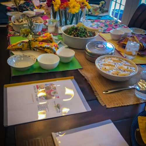 Table setting with food during Indian Culinary Experience