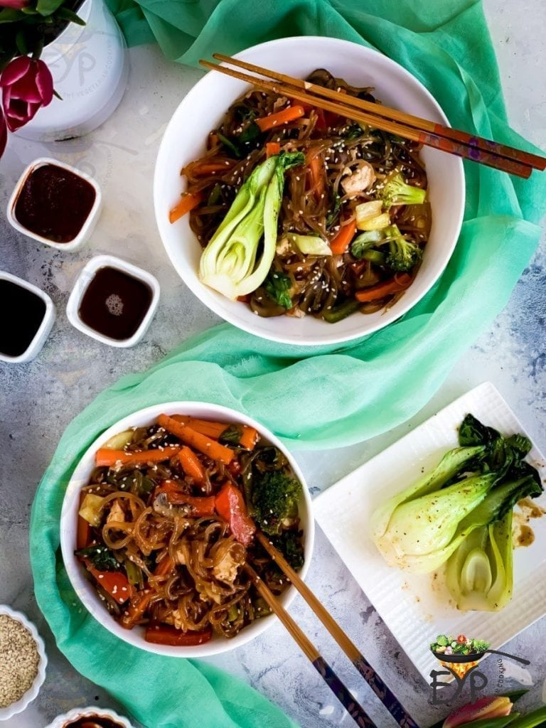 Japchae - Vegan & Gluten Free Korean Glass Noodles - Recipe from Enhance Your Palate