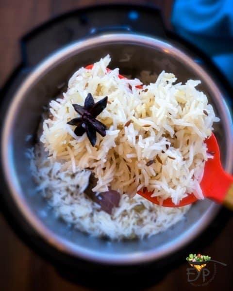 Cooked Jeera rice closeup