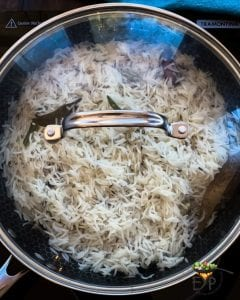 Rice being steam cooked