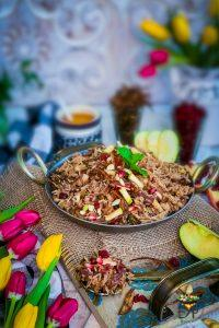 Cooked Kashmiri Pulao in a wok
