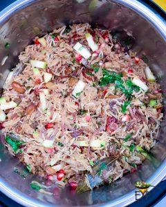 Cooked Kashmiri Pulao in an Instant Pot Bowl