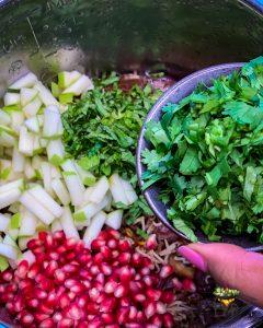 Cilantro being added