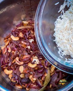 Rice being added