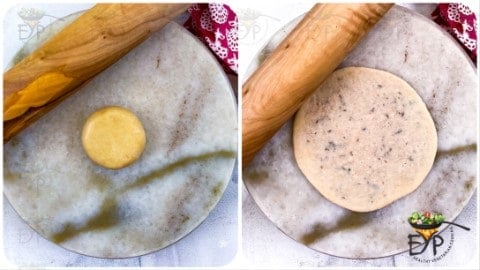 Small dough balls being rolled into Kachori