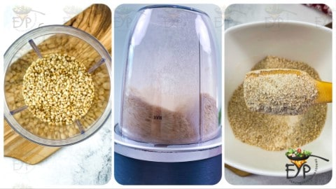 grinding lentils for kachori stuffing