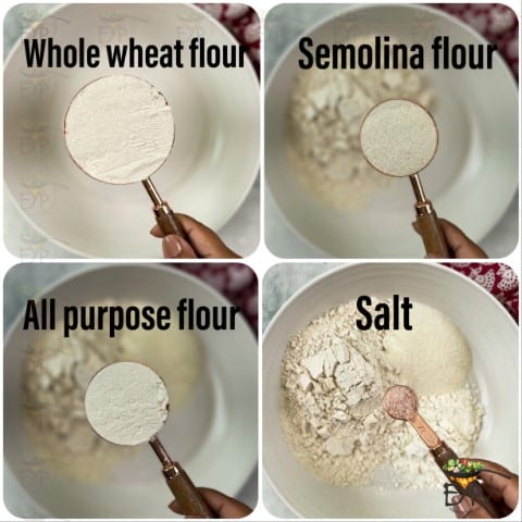 Flours being mixed to make kachori