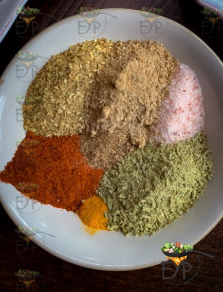 All spices in a plate for mixing