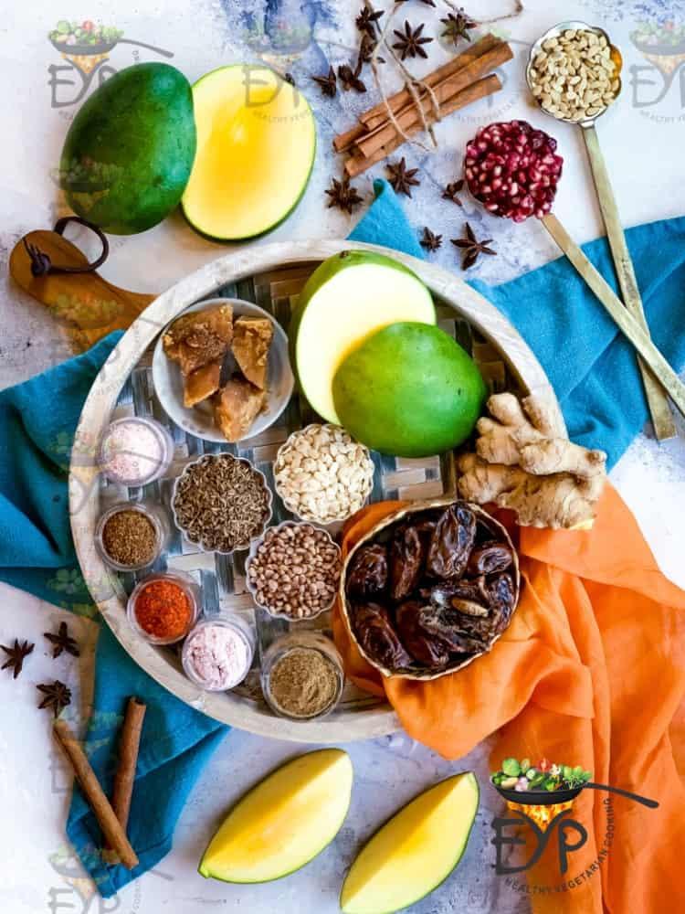Ingredients used in Green Mango sweet chutney