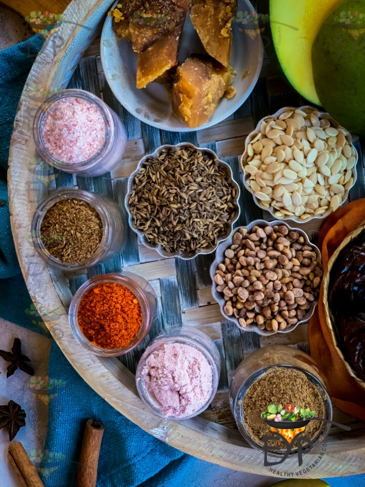 Necessary spices used in green mango sweet chutney