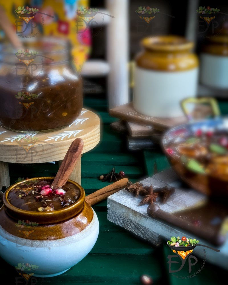 Mango sweet chutney, saunth in ceramic jar