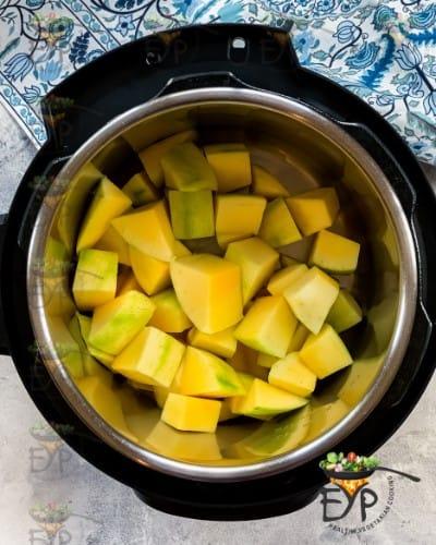 Green mango in the pot