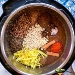 All spices for green mango saunth in the pot