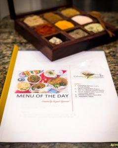 Menu of the Day for Indian Culinary Experience