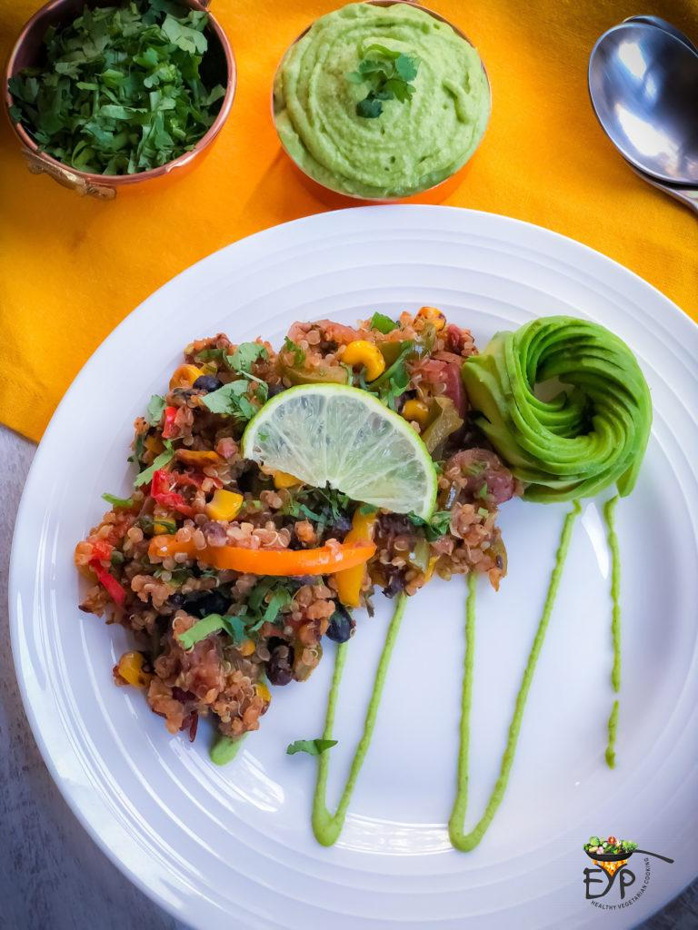 Mexican quinoa recipe is a flavorful savory gluten-free vegan recipe wherein cooked quinoa, and beans are stir-fried with some vegetables and spices to create a deliciously healthy protein and fiber rich recipe. From Enhance Your Palate