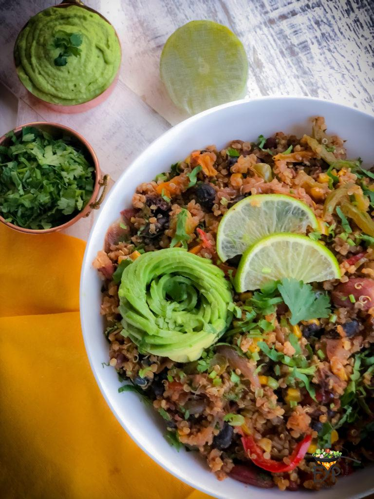 Mexican quinoa recipe is a flavorful savory gluten-free vegan recipe wherein cooked quinoa, and beans are stir-fried with some vegetables and spices to create a deliciously healthy protein and fiber rich recipe. Enhance Your Palate