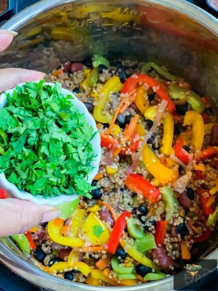 Adding cilantro to mexican quinoa recipe