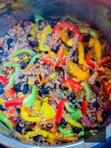 mixed peppers into mexican quinoa