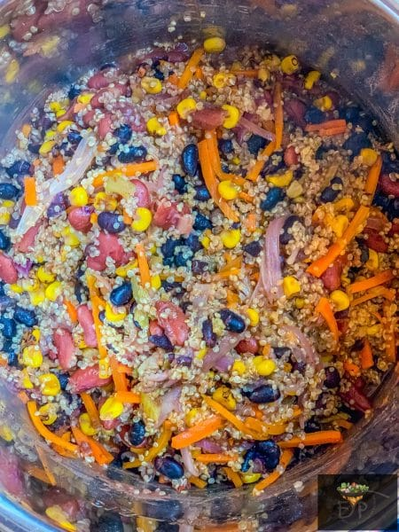 mexican quinoa after pressure cooking and natural release